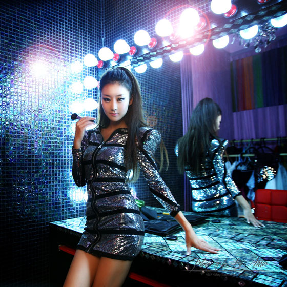 Park Hyun Sun silver black mini dress